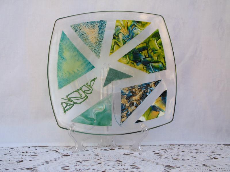 Piatti decorati vassoio in vetro for Piatti decorati